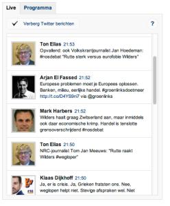 Screenshot met voornamelijk VVD tweets. Toevallig. Elke partij heeft dezelfde soort tweets van dezelfde soort politici.